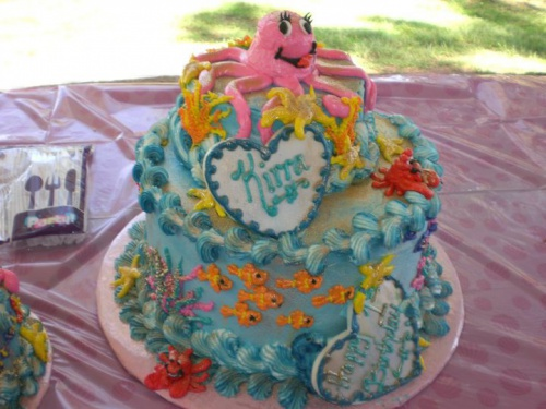 3-D Buttercream Figure Piped Under the Sea Birthday Cake - March 2014